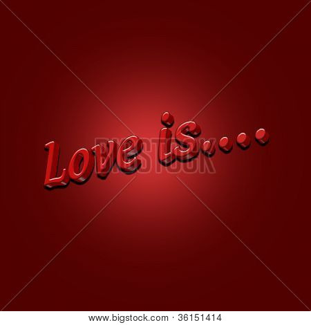 Love Is 3D Text