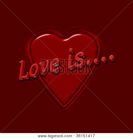 Love Is 3D Text With Heart