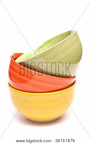 Bowl In Yellow, Orange And Green