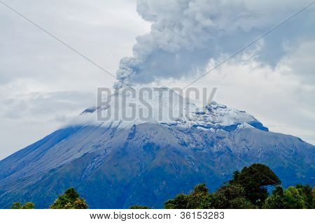 Closeup of Tungurahua Volcano throwing ashes into the sky