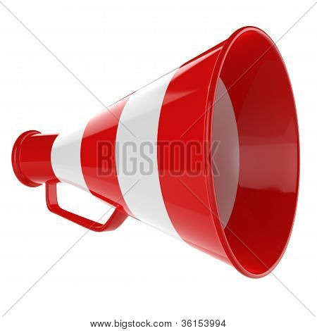 3D Bullhorn... Retro megaphone in a red and white color isolated on white background.