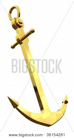 Golden Anchor, 3d render isolated on white background