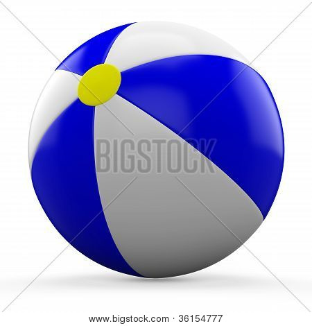 3D Blue and white beach ball isolated on white background.