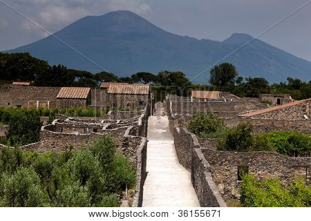 The ruins of the ancient Roman town-city of Pompeii