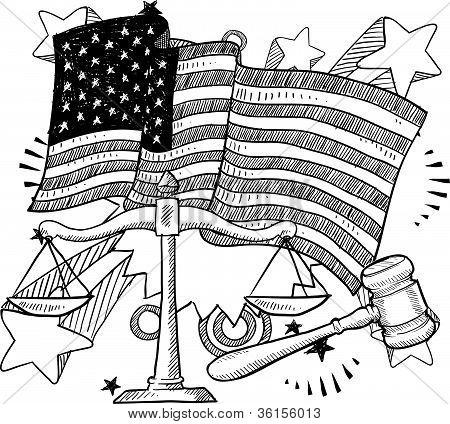 Amerikanische Justiz Skizze