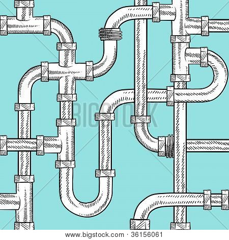 Seamless water pipes background