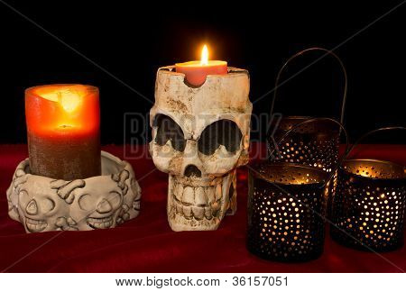 Day Of The Dead Skull & Candles