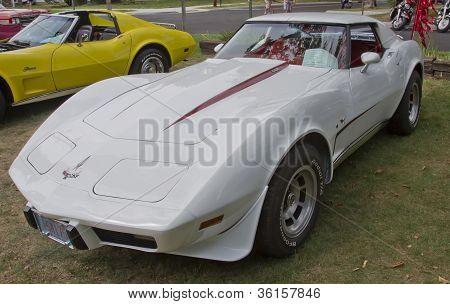 White 1977 Corvette Side View