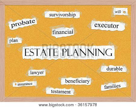 Estate Planning Corkboard Word Concept