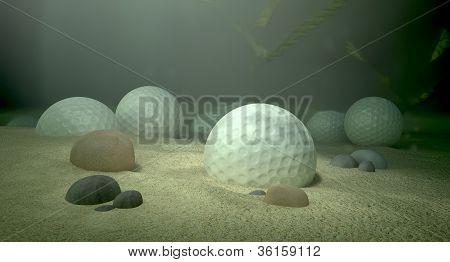 Golf Balls In Water Hazard