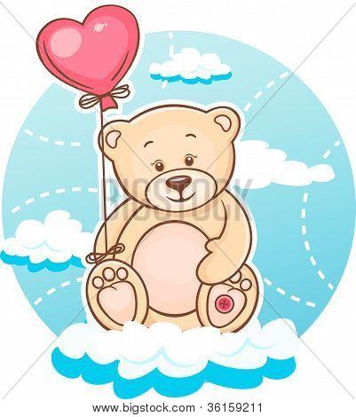 Valentine Teddy With Balloon