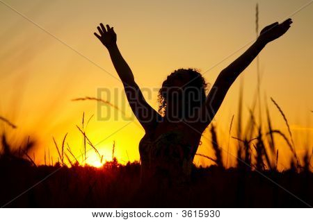 Female Silhouette On Sunset On Wheaten Field