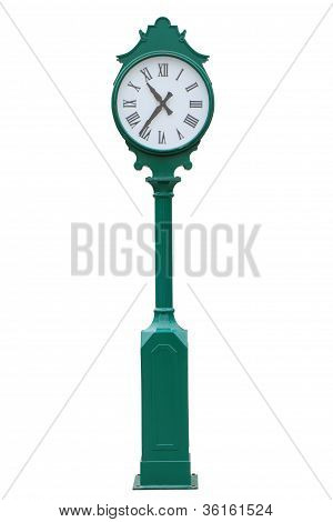 Old Exterior Clock Isolated