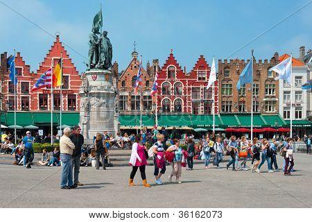 Market Square In Bruges
