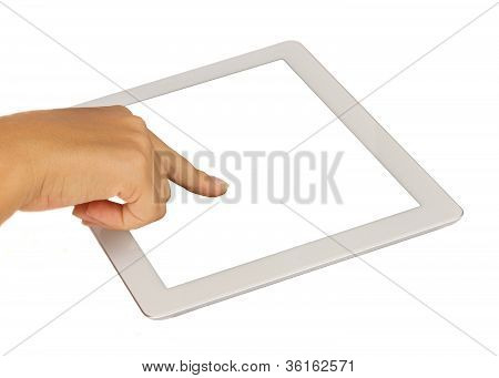 hand pointing at modern tablet PC