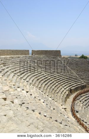 Amphitheater In Ancient City Hierapolis. Pamukkale, Turkey. Middle Asia.