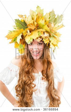 Beautiful Fall Woman. Close Up Portrait Of Girl With  Autumn Wreath Of Maple Leaves Shouts  Touting