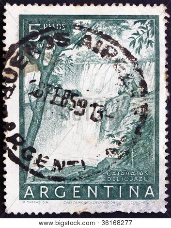 Postage stamp Argentina 1955 Plane over Iguacu Falls