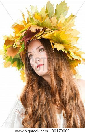 Beautiful Fall Woman. Close Up Portrait Of Girl With  Autumn Wreath Of Maple Leaves On The Head On A
