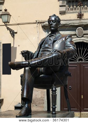 Bronze statue of Puccini in Lucca Italy