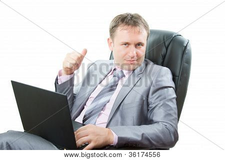 Successful Man With Modern Laptop Showing Thumbs Up Business On White Background  More Of This Serie