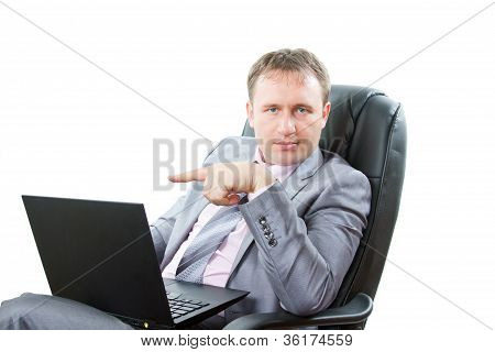 Portrait Of Handsome Business Man  With Laptop Showing Thumbs Up Business On White Background.busine