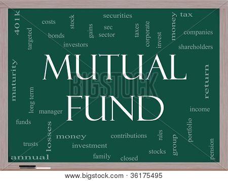 Mutual Fund Word Cloud Concept On A Blackboard