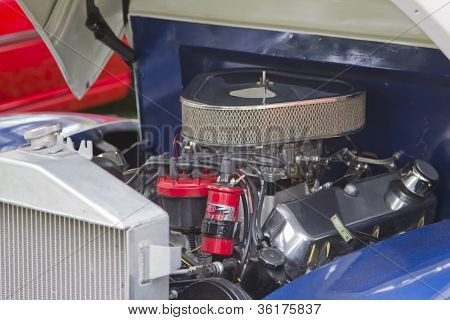 1940 Blue & White Ford Truck Engine