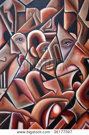 Original Cubism Artwork Hidden Faces