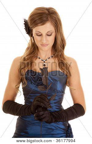 Blue Dress Black Rose