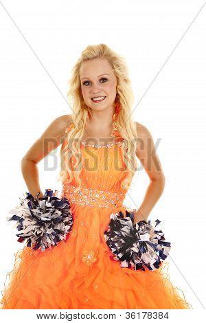 Vestido laranja Pom Poms