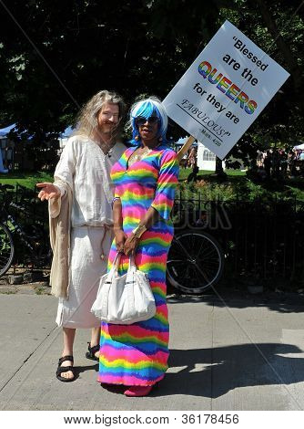 Man dressed as Jesus in Pride Parade