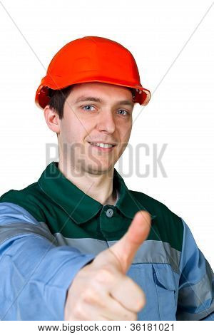 Isolated Picture Of A Young Construction Worker