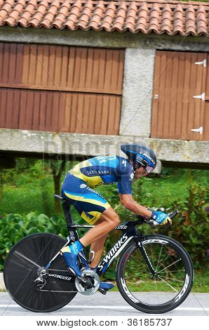 Meis, Spain - August 29, 2012: Alberto Contador (Team Saxo Bank Tinkoff Bank)