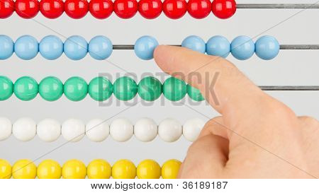 A Man Using An Abacus On A White Background