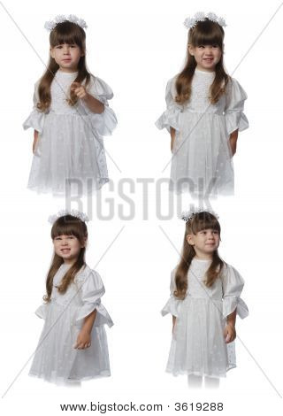 The Girl In A White Dress - Set Of Expressions