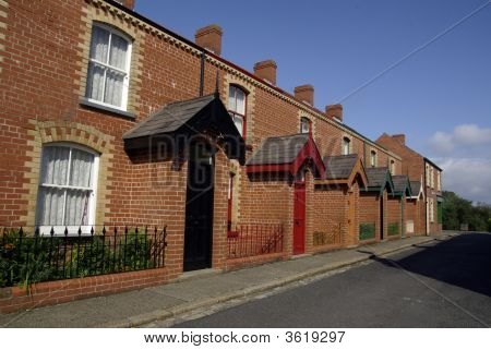 Street Of Brick Terraced Houses
