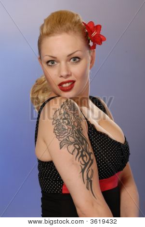 Burlesque Pretty Girl With Tattoo