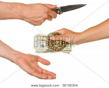 Man With Knife Threatening A Woman