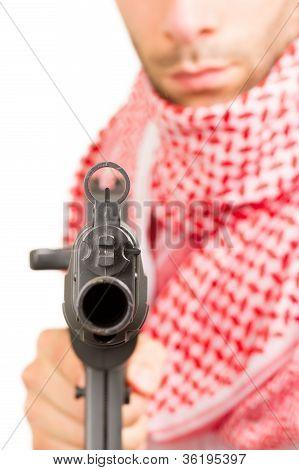 Arab Adult With A Machine Gun, Terrorist