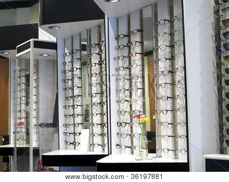 Row Of Glasses At An Opticians