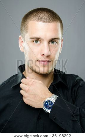Elegant Young Man With Luxury Watch