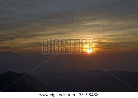 Red Sunrise Over Hills