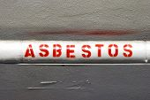 stock photo of asbestos  - Mandatory labeling of the Asbestos wrapped water lines - JPG