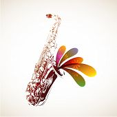 picture of saxophones  - Colorful vector saxophone background with copy space - JPG