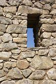 Trapezoidal Window In Inca Stone Wall poster