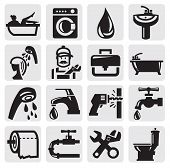 pic of pipe wrench  - vector black bathroom icons sey on gray - JPG