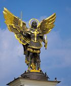 stock photo of kiev  - Archangel Michael Saint patron of Kiev in independence square Kiev - JPG