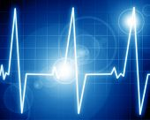 stock photo of blue-screen-of-death  - Heart monitor on a dark blue background - JPG