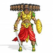 stock photo of ravan  - vector illustration of Raavana with ten head holding sword - JPG